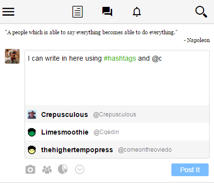 The Hub uses an intelligent text box that formats the text as you type